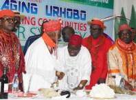 DESOPADEC Managing Director, Chief Askia Ogieh exchanging pleasantries with Urhobo Monarchs during the DESOPADEC Town hall meeting with Urhobo Ethnic Nationality