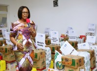 Wife of Delta Governor and founder O5 initiative Dame Edith Okowa speaking during the distribution of Christmas Packages to Orphanages and Indigent Women in the State.