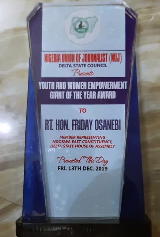 Rt. Hon. Friday Osanebi Bags NUJ Award