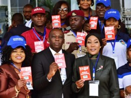 Mr Peter Mrakpor Esq. Delta Attorney General and Commissioner for Justice (2nd Left) and Dame Julie Okah-Donli, Director General,National Agency for Prohibition of Trafficking in Persons (NAPTIP) (2nd Right)