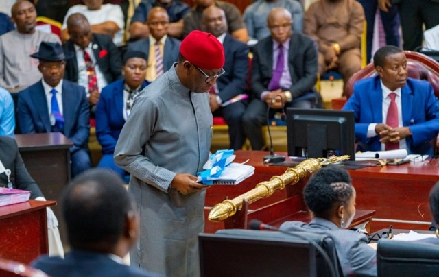 Delta Governor, Senator (Dr) Ifeanyi Okowa during the presentation of the 2020 Appropriation Bill by at the State House of Assembly, Asaba.