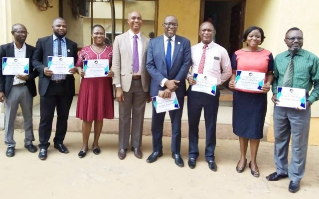 Executive Director, Delta State Primary Health Care Development Agency, Dr Winful-Orieke Jude (4th left) flanked by the awardees
