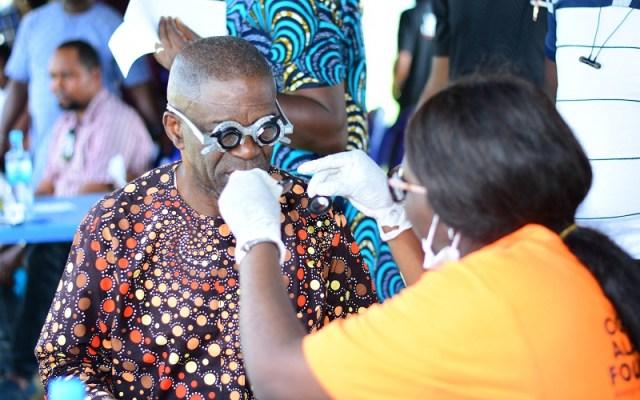 President General, Isoko Development Union (IDU), High Chief Iduh Amadhe undergoing Eye Examination courtesy Oghenero Alakpodia Foundation.