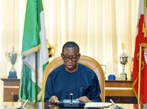 Delta State Governor, Dr Ifeanyi Okowa making a State broadcast on Delta's preparations against the COVID-19 pandemic