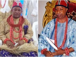 L-R: Acting King of Uzere Kingdom, HRM Henry Etuwede III and Deposed King, HRM Isaac Udogri