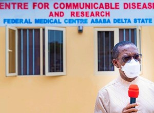 Governor Ifeanyi Okowa at the Centre for Communicable Diseases and Research, FMC Asaba