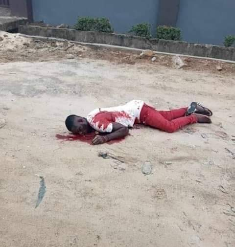Lifeless body of late Joseph Pessu killed by an unknown soldier in Warri