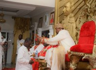 His Royal Majesty, Oboro Gbaraun II, Pere of Gbaramatu Kingdom Conferring Ibe-Sorimowei of Gbaramatu Kingdom on Comrade Sheriff Mulade