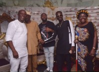 David Adeleke 'Davido' in group Photograph with Chief Fred Ajudua, Hon Pat Ajudua, Barr Bobo Ajudua at the Ajudua's grandchild Dedication in Delta State