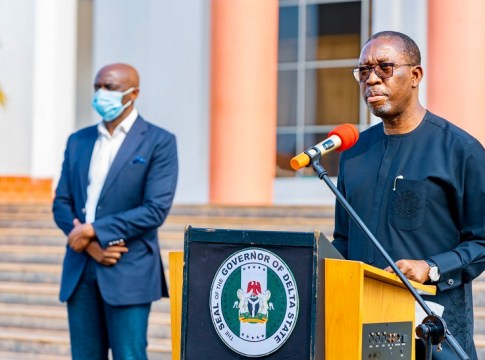 Delta Governor, Senator Dr. Ifeanyi Okowa (right), making a statewide broadcast to Deltans on Thursday, 22ndOctober 2020 at Government House Asaba
