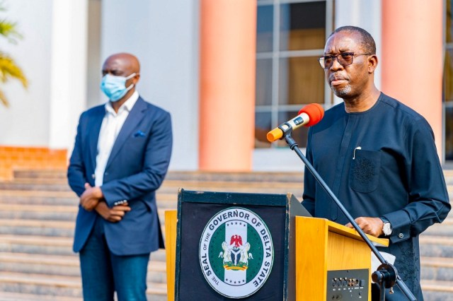 Delta Governor, Senator Dr. Ifeanyi Okowa (right), making a statewide broadcast to Deltans on Thursday, 22nd October 2020 at Government House Asaba