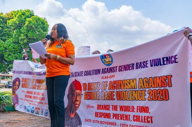 Barr Julian Ogwulu speaking during the commemoration of the 2020 International Day for Elimination of Violence Against Women at Government House Asaba on Thursday, November 26, 2020