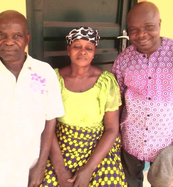 Parents Of One Of The Beneficiaries With Mr. Joseph Adione, the Foundation's Country Administrator