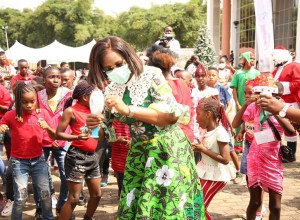 Wife of the Delta state Governor and founder O5 initiative, Dame Edith Okowa dancing with Delta Children during the Children Christmas Party held in Government House Asaba. (Pix: Norbert Amede)