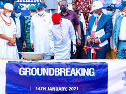 Delta Governor, Senator Dr .Ifeanyi Okowa (middle) performing the ground breakingof DELFRASCO Industries Limited at Issele-uku in Aniocha North Local Government Area on Thursday, January 14, 2021
