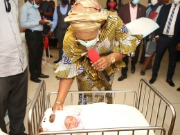 Wife of Delta Governor, Dame Edith Okowa with the 2021 first baby of the year delivered at the Asaba Specialist Hospital. Pix. Norbert Amede.