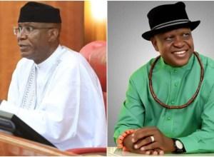 (L-R) Deputy Senate President, Senator Ovie Omo-Agege and 2015 APC Gubernatorial Candidate, Olorogun O'tega Emerhor