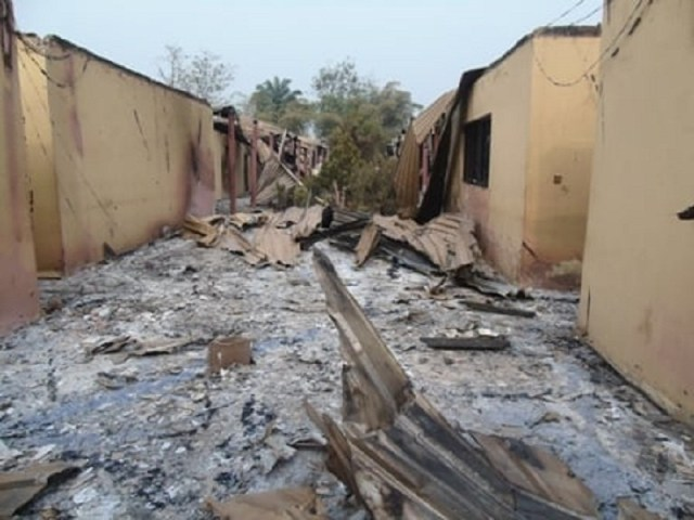 Burnt Issele-Uku High/Magistrate Court Complex in Aniocha North Local Government Area of Delta State