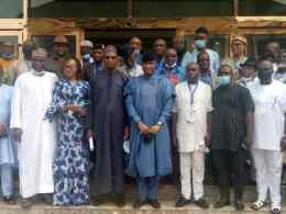 Deputy Senate President, Senator Ovie Omo-Agege flanked by South-South APC Officials after a meeting in Asaba on Saturday, March 27, 2021