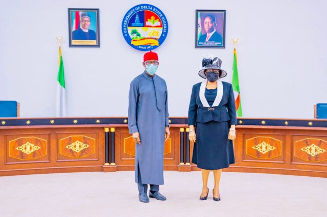 Delta Governor, Senator Dr. Ifeanyi Okowa (left) and the new Chief Judge of the State, Justice Theresa Diai, after her swearing-in at Government House, Asaba on Monday, May 24, 2021