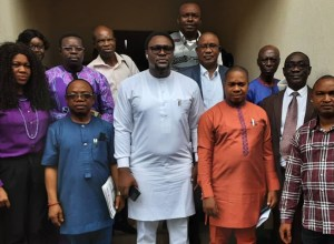 Delta Local Content Agency, Dr Morris Idiovwa flanked by Journalists, Others on Monday, June 28, 2021