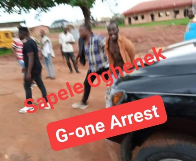 Mr Sunday Okoro being dragged by the Police officers to a school in Benin for torturing every morning