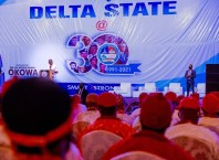 Delta Governor, Senator Ifeanyi Okowa, addressing stakeholders as part of activities marking the 30th anniversary of the creation of Delta State at the Event centre, Asaba. Tuesday, August 24, 2021