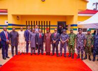 Governor Ifeanyi Okowa, Mr Jim Ovia (middle) in a group photograph after the Inauguration of Projects Executed by Jim Ovia Foundation for the Nigeria Police Force in Agbor