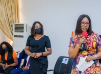 Wife of Delta Governor, Dame Edith Okowa (right) and Senior Assistant Manager, Zenith Bank, Asaba Branch, Eruke Omorogieva at the presentation of Cheques to orphanages in Delta in Commemoration of the 62nd Birthday of Governor Ifeanyi Okowa on August 2, 2021