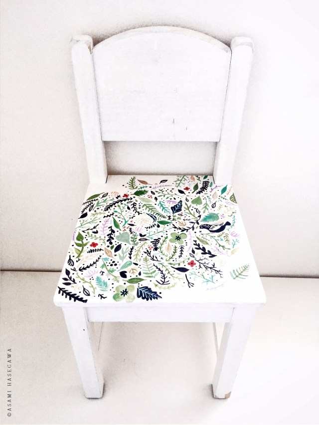 Hand Painted Modern Flower Kids Chair Makeover