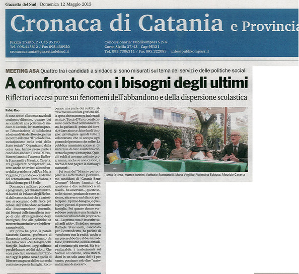 Gazzetta del Sud, 12 maggio 2013