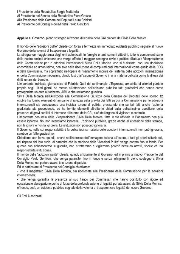lettera Autorità dello stato