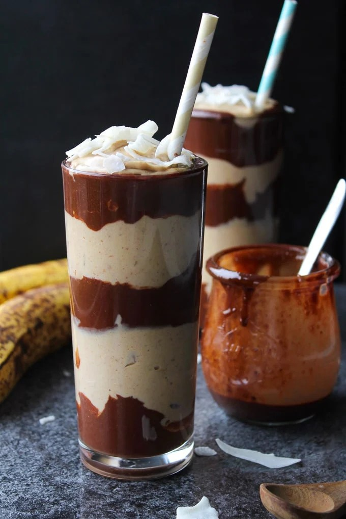 Layered Peanut Butter & Chocolate Banana Milkshakes | Vegan, Gluten Free, Refined Sugar Free @asaucykitchen