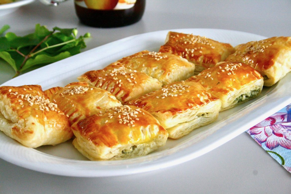 A plate of golden puff pastry bites