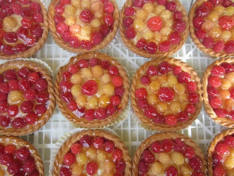 Raspberry and mirabelle tarts