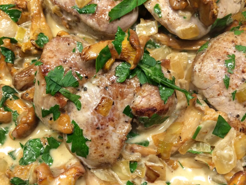 Pork fillet with a wild mushroom cream sauce