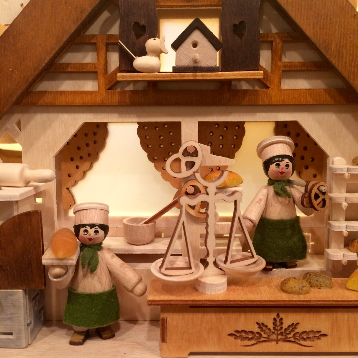 Wooden bakery-themed German Christmas ornaments