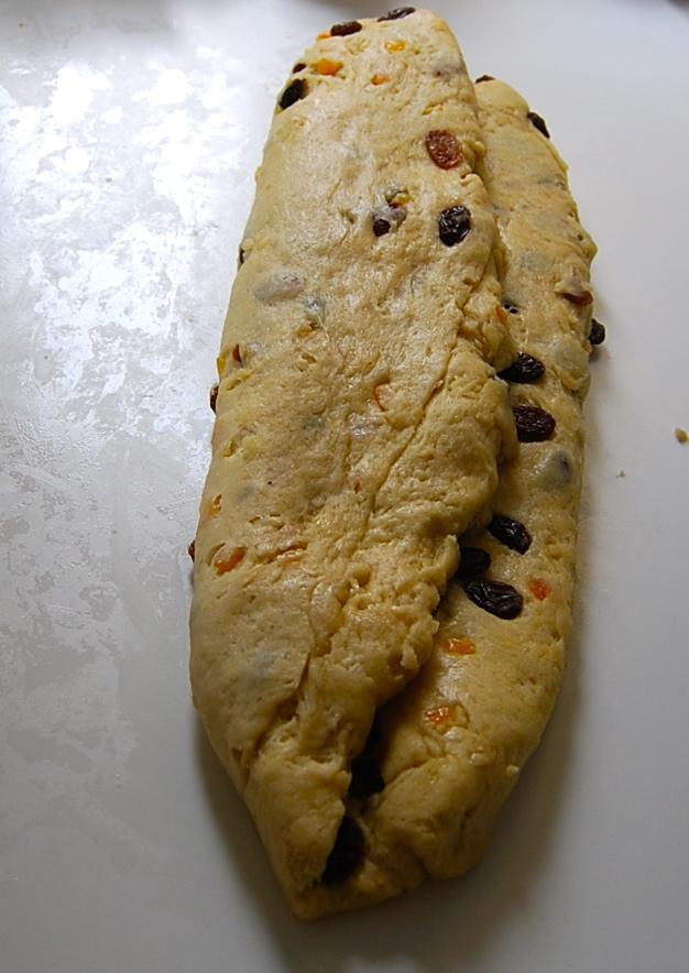 Stollen dough being folded