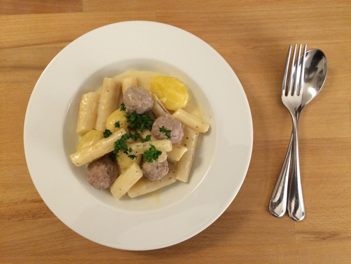 A plate of veal and salsify stew