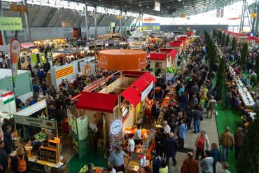 View of stalls and people at the Slow Food Messe Stuttgart 2015