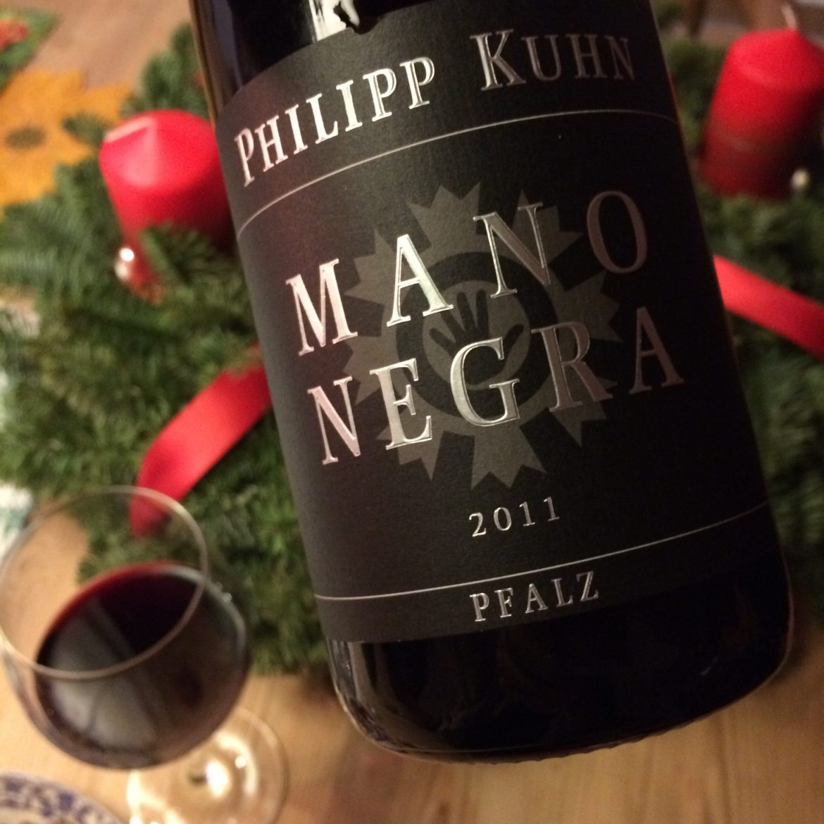 A bottle and glass of German red wine from the Pfalz