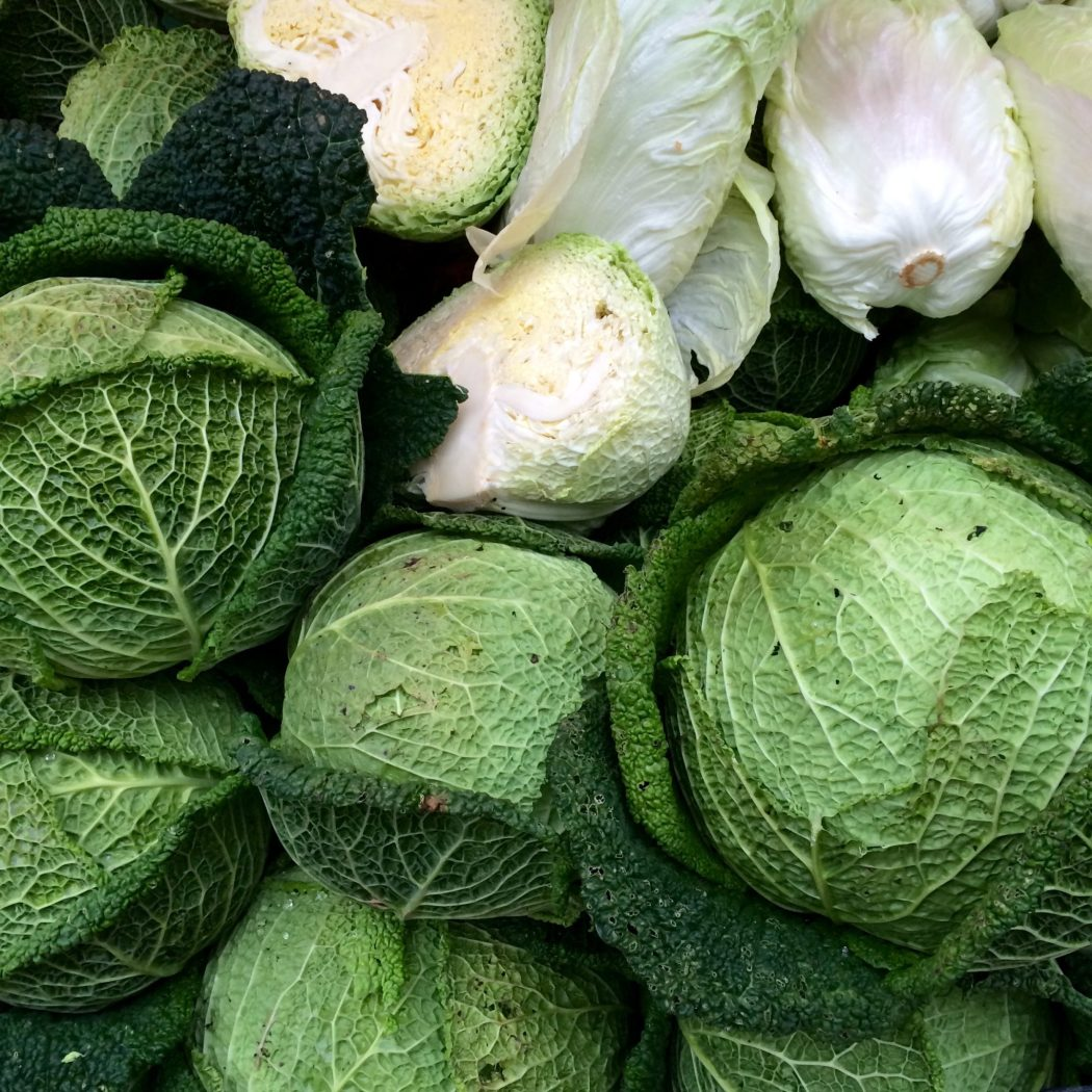 Mixed cabbages at the market