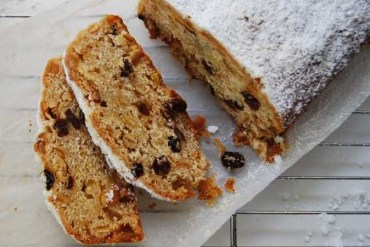Slices of Stollen with marzipan and quark
