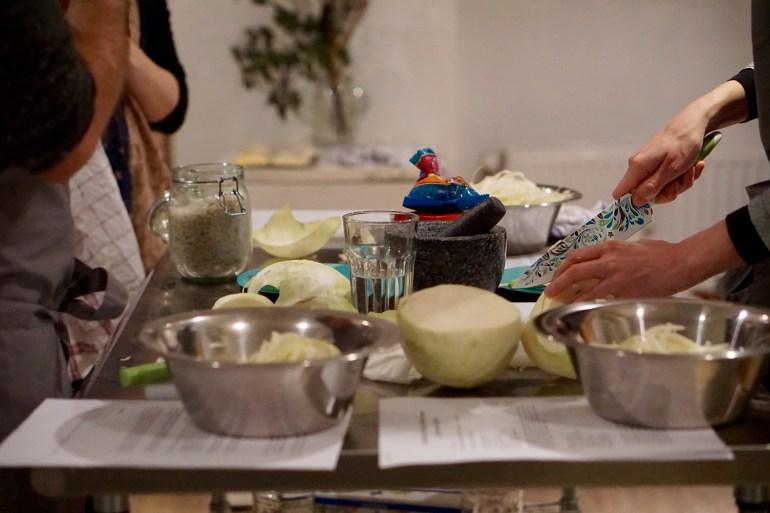 Preparing Sauerkraut in a kitchen