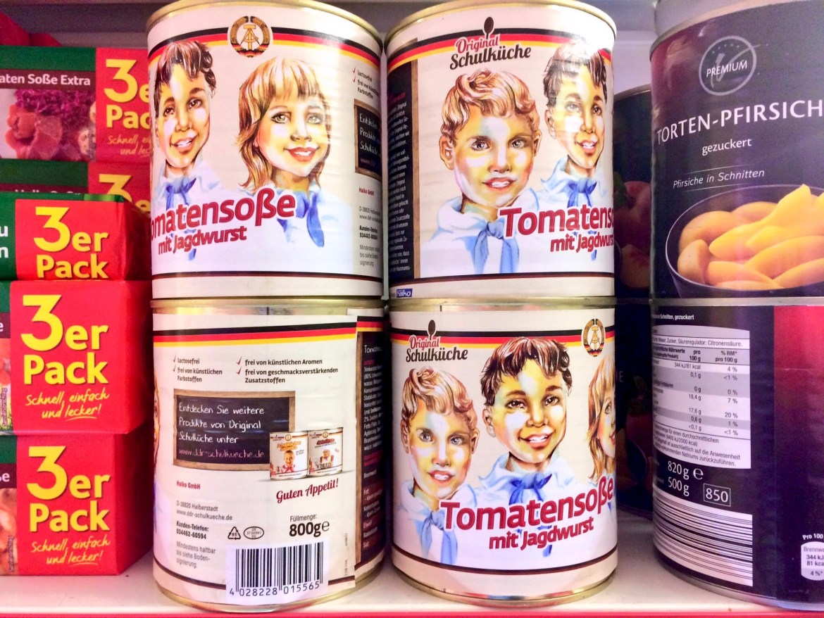 A stack of tins of Jagdwurst in Tomatensoße