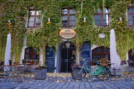 The leafy front of Munich's oldest bakery, now a restaurant