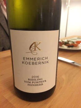 Close up of a bottle of Emmerich Koebernik Riesling