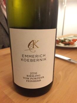 Close up of a bottle of Emmerich Koebernik Riesling