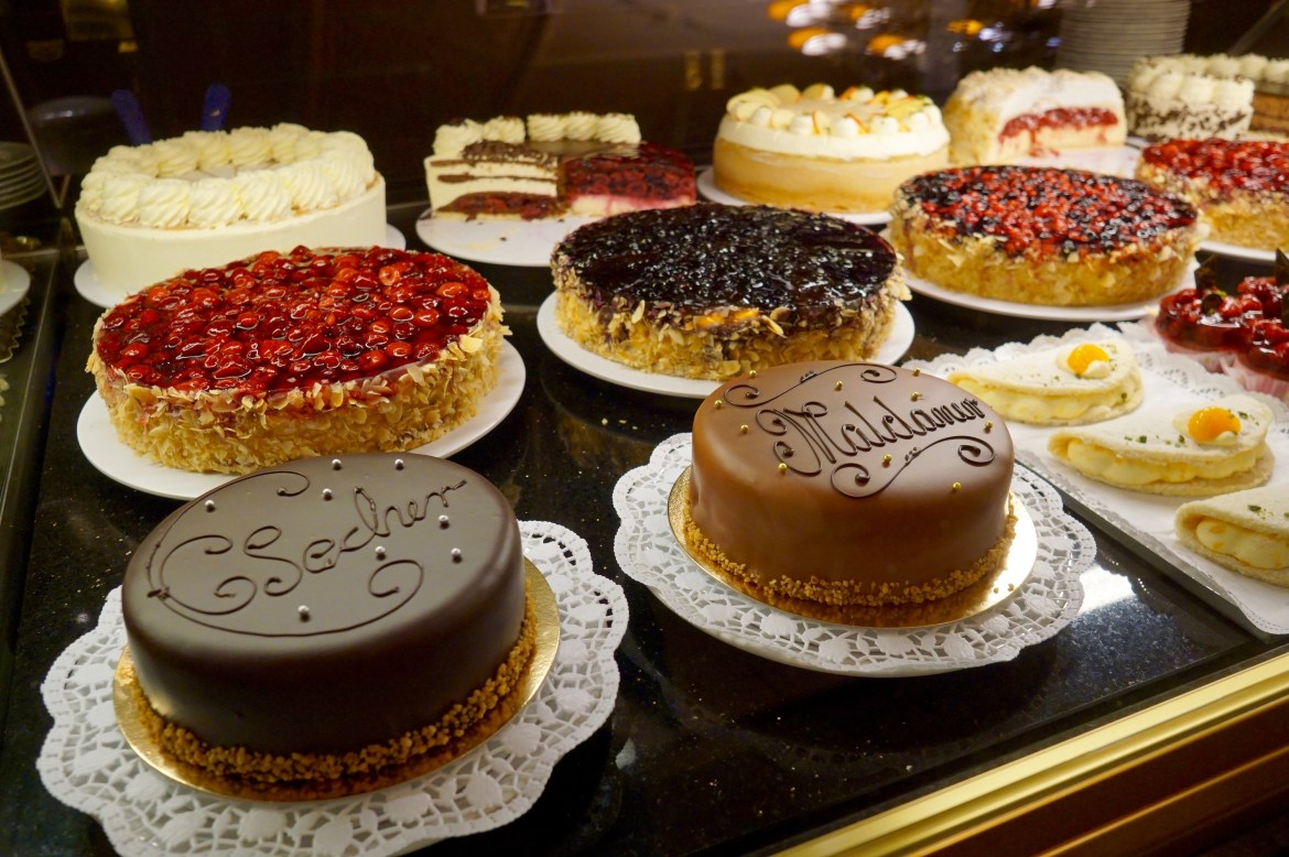 Selection of cakes in a glass counter at Café Maldaner, Wiesbaden