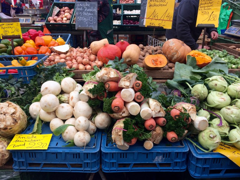 Piles of vegetables at the Mainz farmers' market, Germany